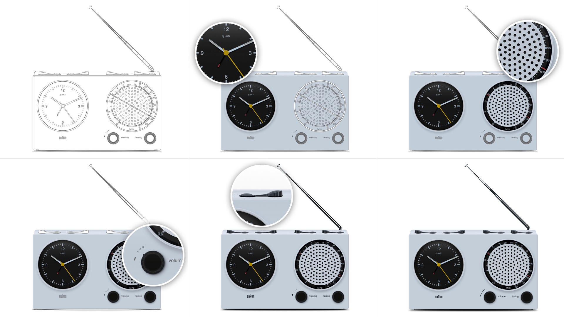 Six images, showing the progress of recreating a photorealistic Braun signal radio ABR 21 in Sketch by building each section one at a time.