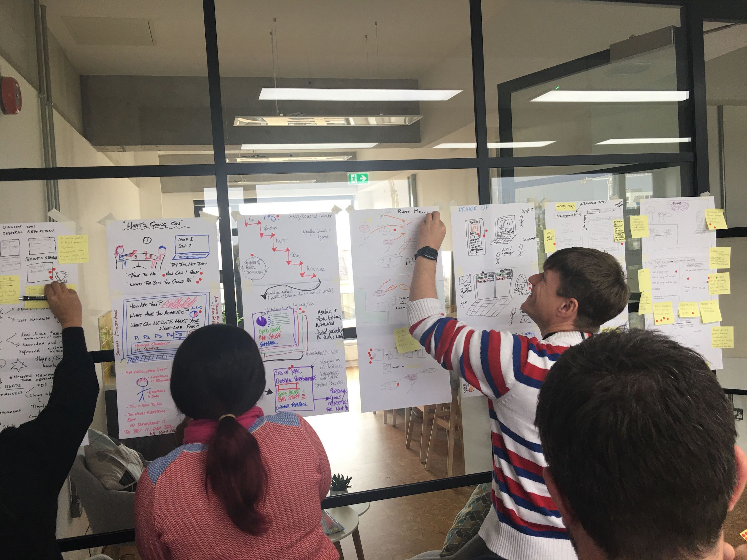 A photograph showing how the team use colored stickers to mark which ideas they like and which can be discounted during a design sprint.