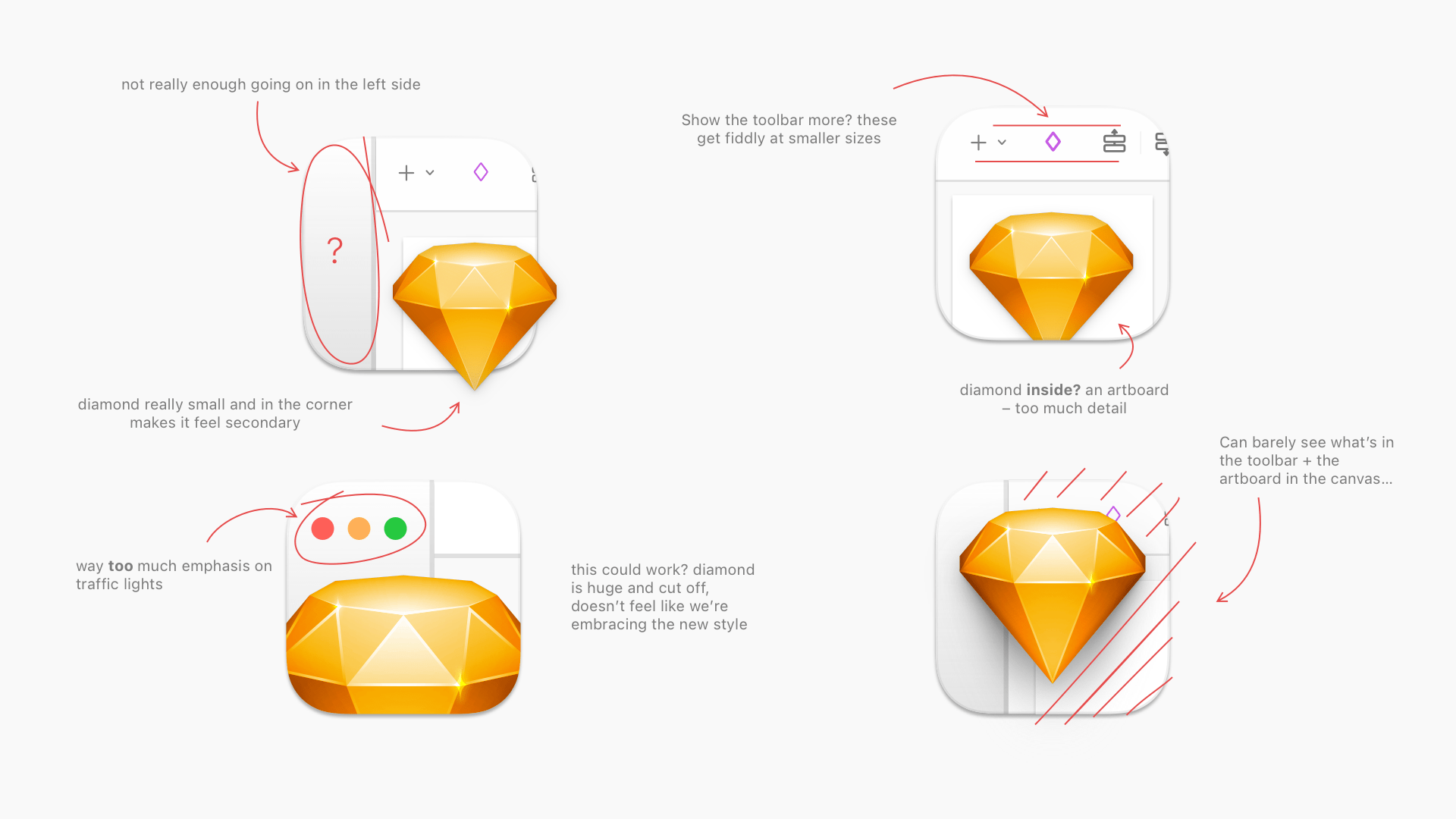 An image showing different ways of using the diamond overlaid on an illustrated version of the Sketch UI, with annotations explaining the pros and cons of each approach.