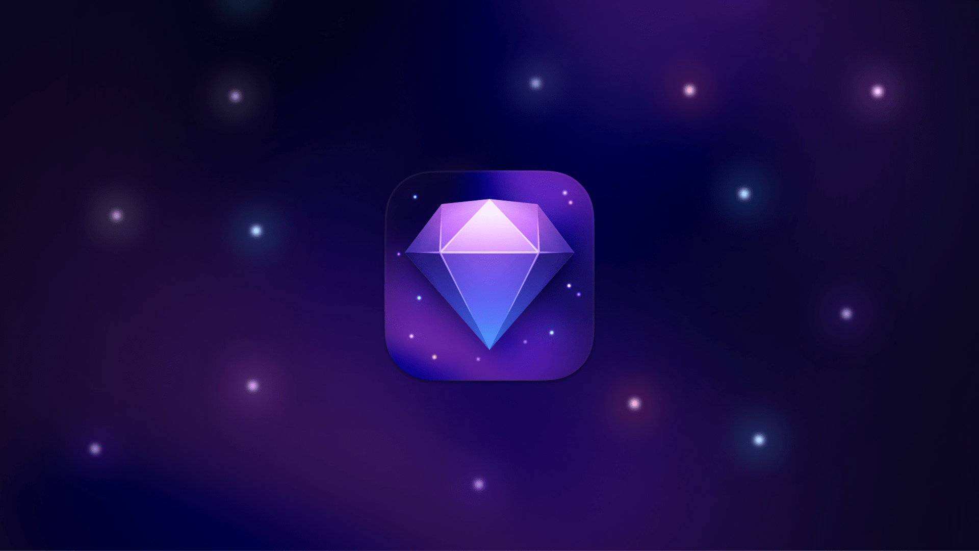 The new icon for our internal 'Experimental' release, featuring a purple diamond on a space background.