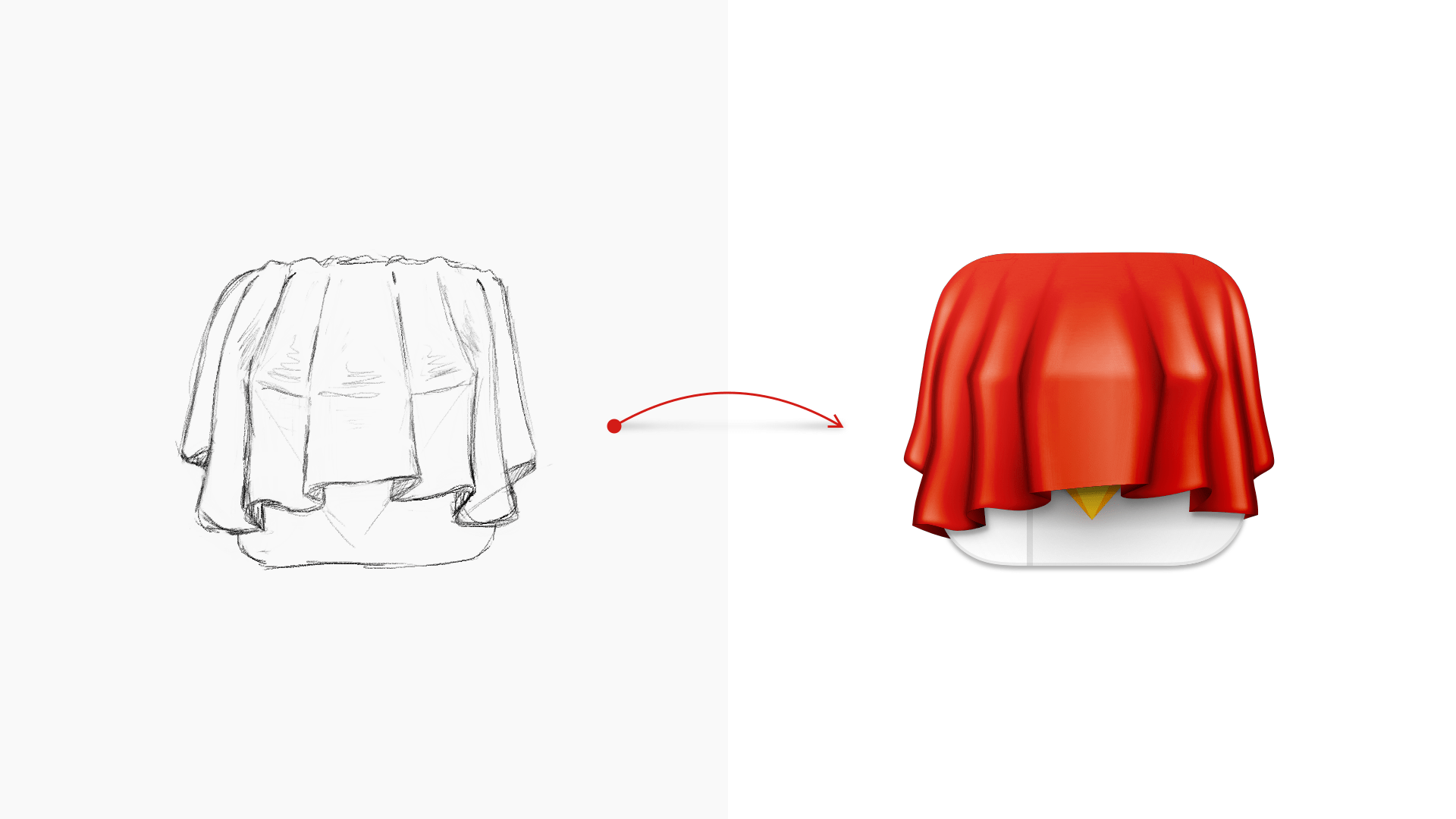 An image of an early sketch of a diamond icon covered by a cloth, next to the finished version of the icon we now use for our Private build.