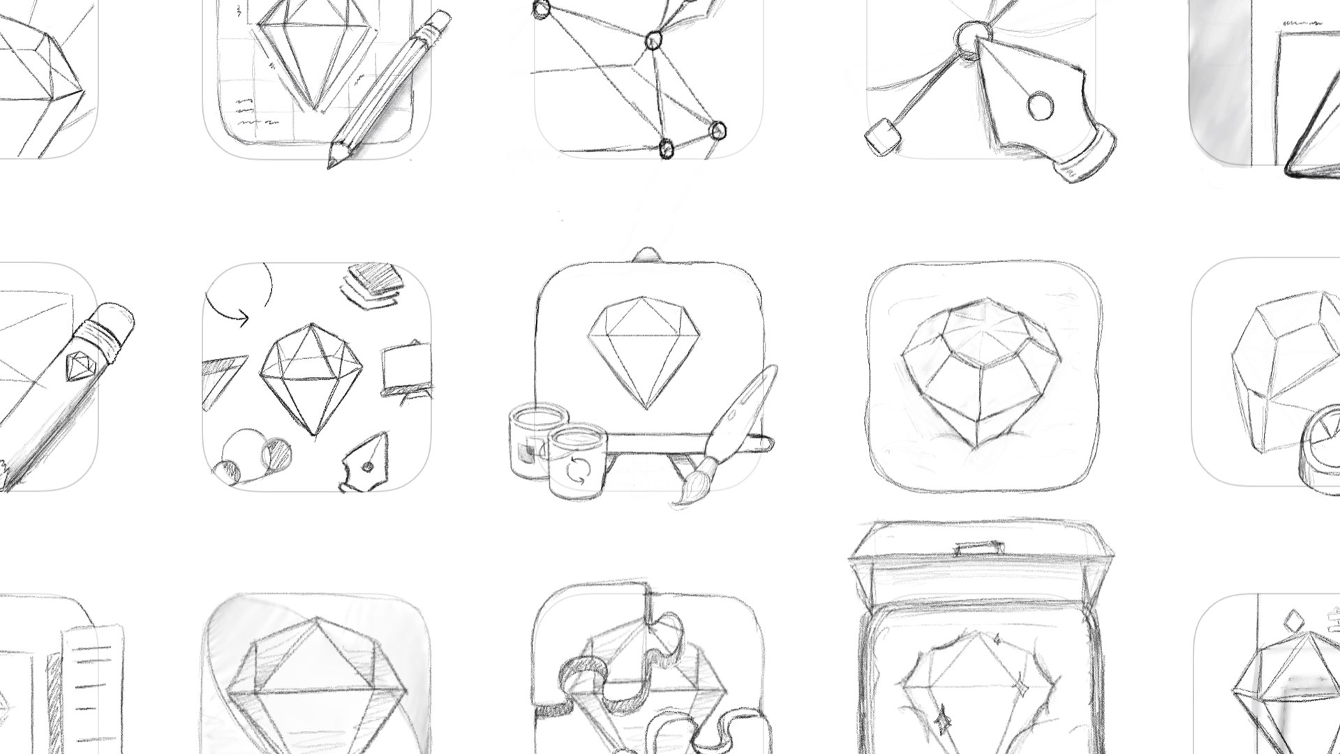 An image showing some of the initial idea sketches that Prekesh created.