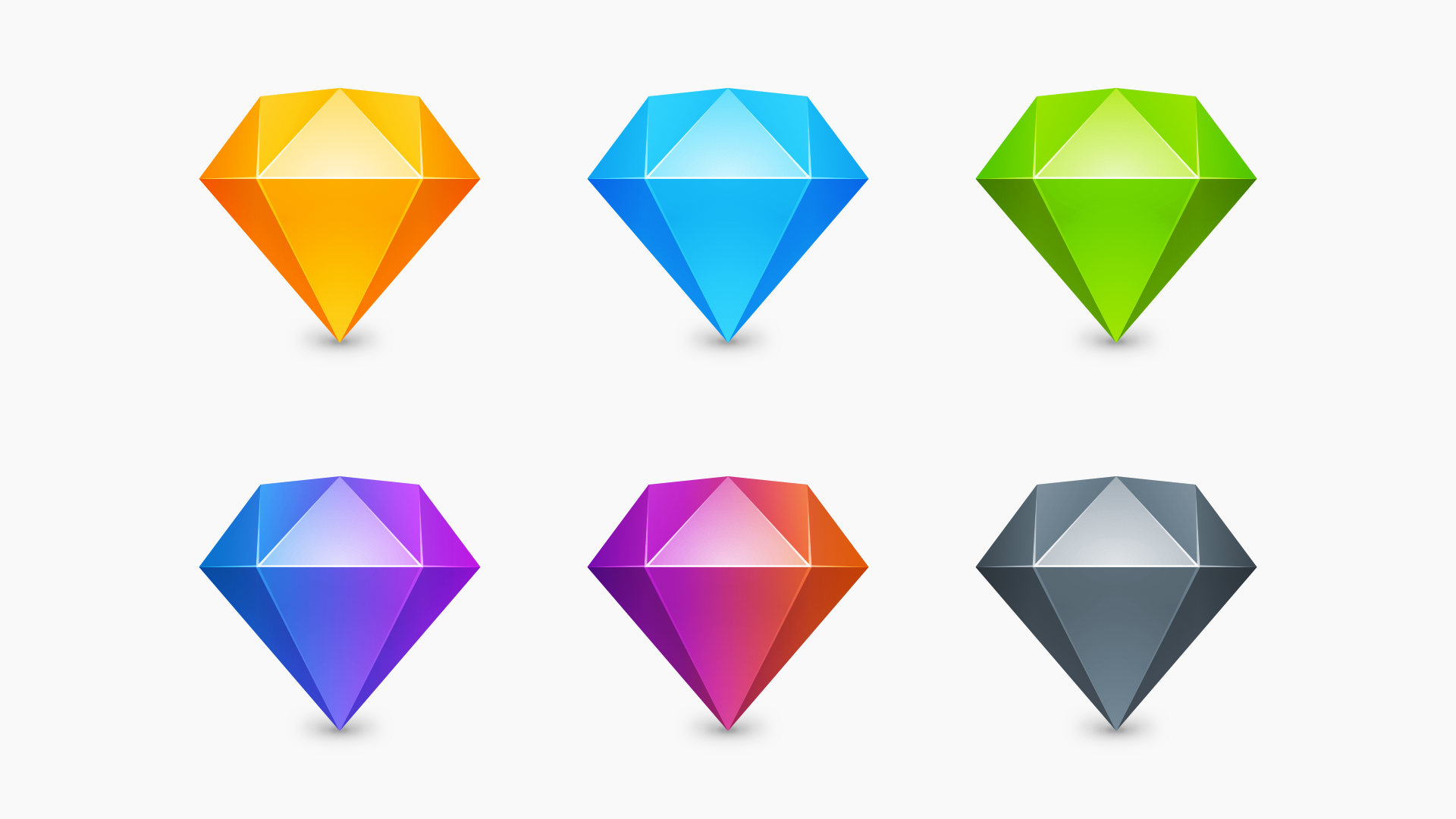 An image showing the six icons we used to use to denote different internal versions of the Mac app.