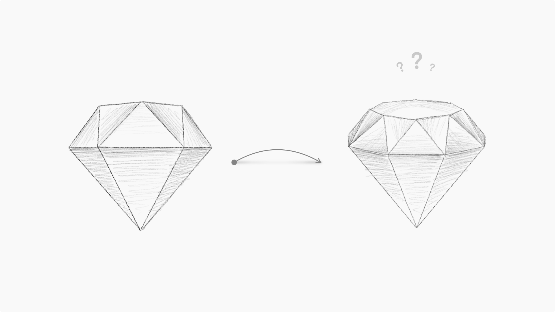 An illustration showing the two diamond designs that Prekesh worked with during development.