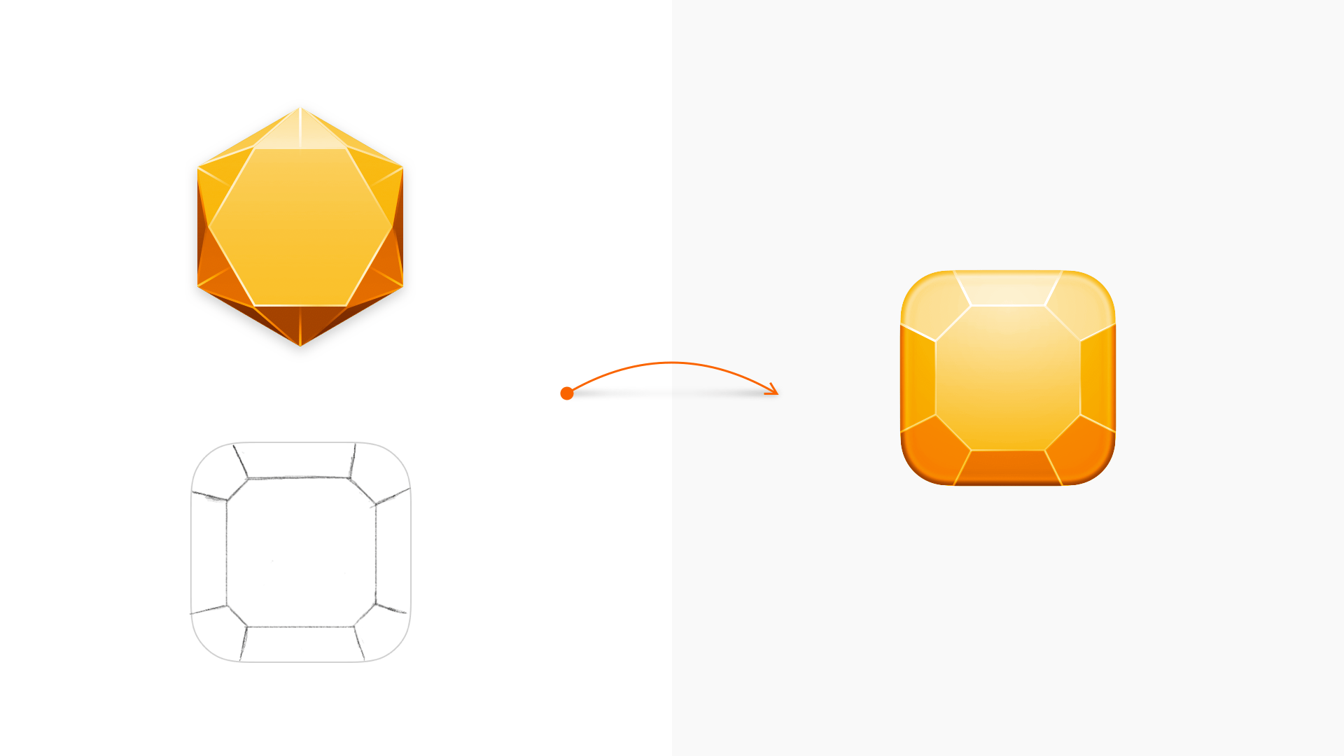 An imagine showing a top-down reimagining of the Sketch diamond in an early drawing and a vector version of that drawing.
