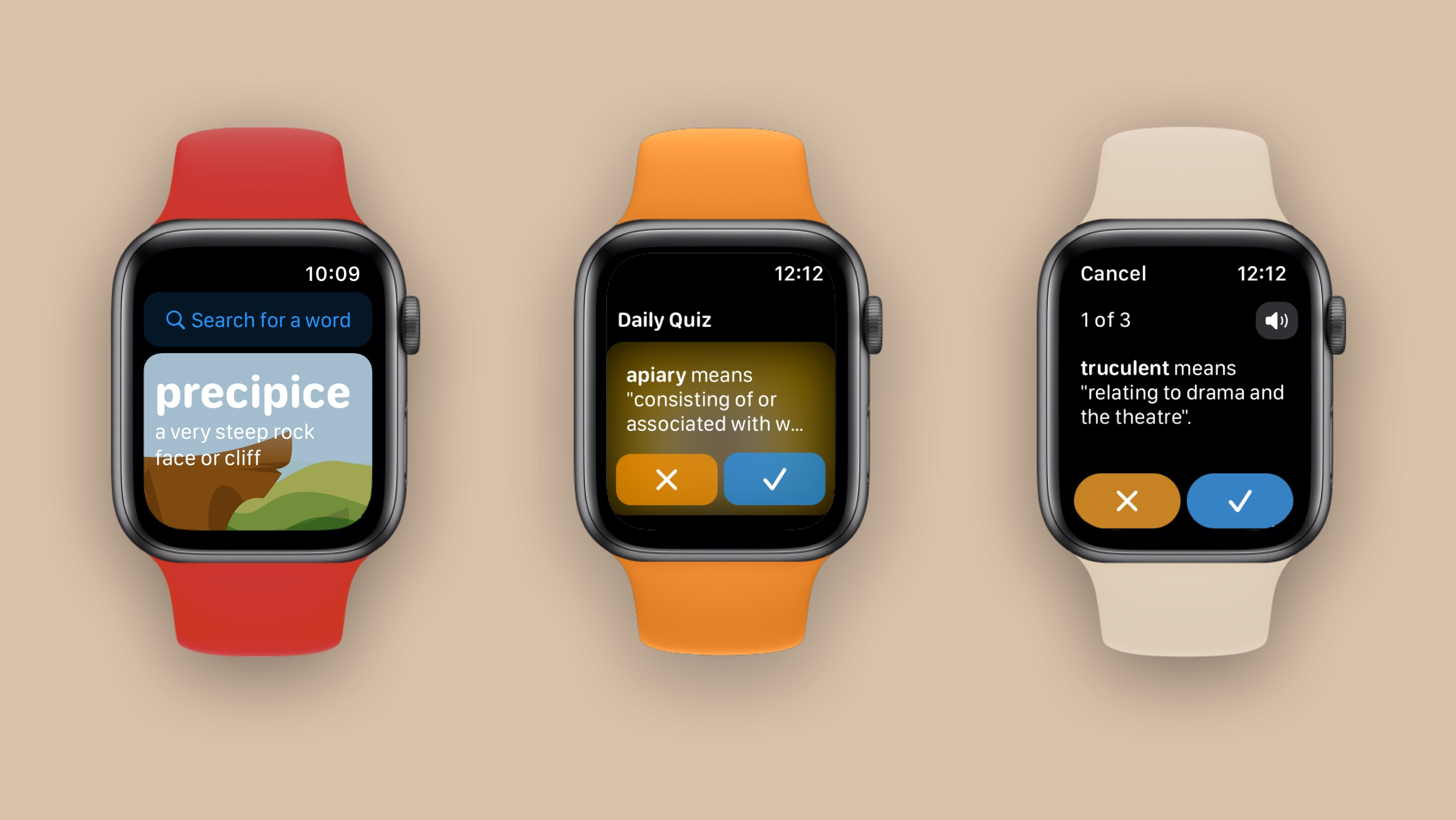 Three Apple Watches, showing the different interactions you can have with LookUp on your wrist.