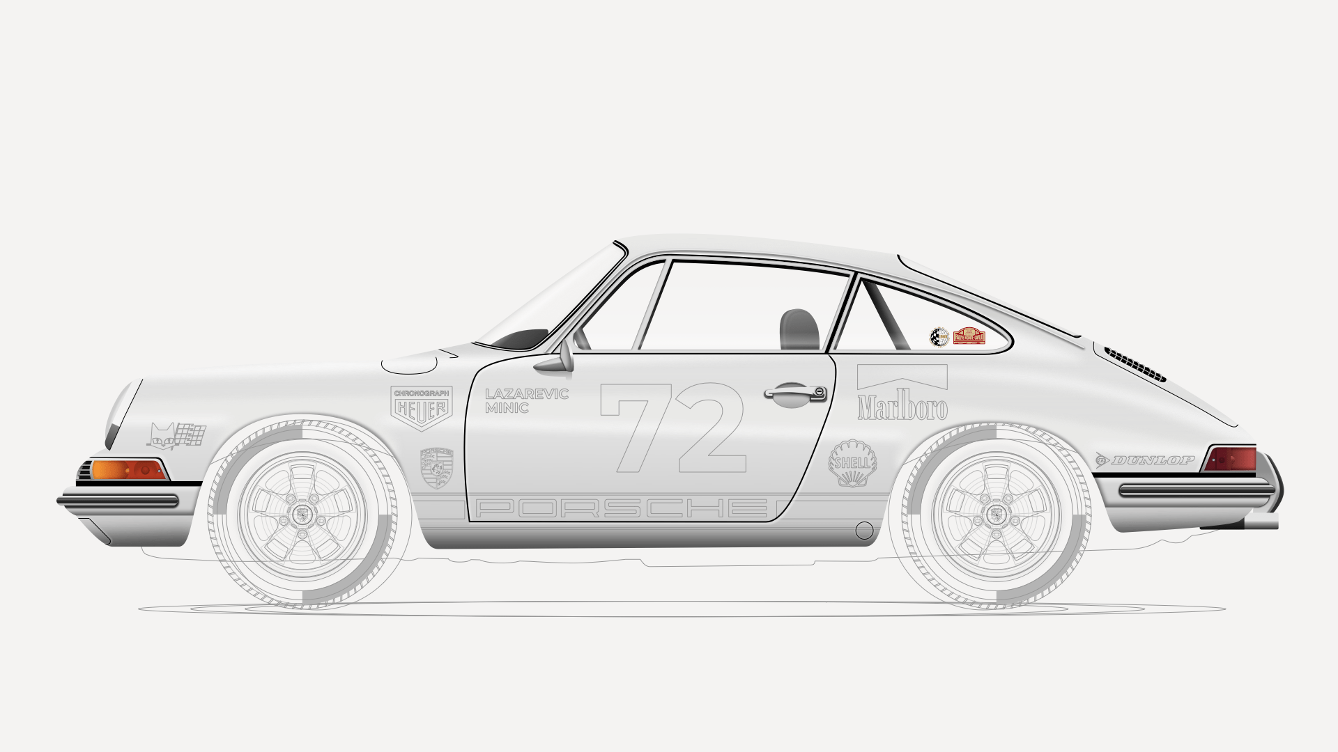 An in-progress illustration of a 1969 Porsche 911, created in Sketch.
