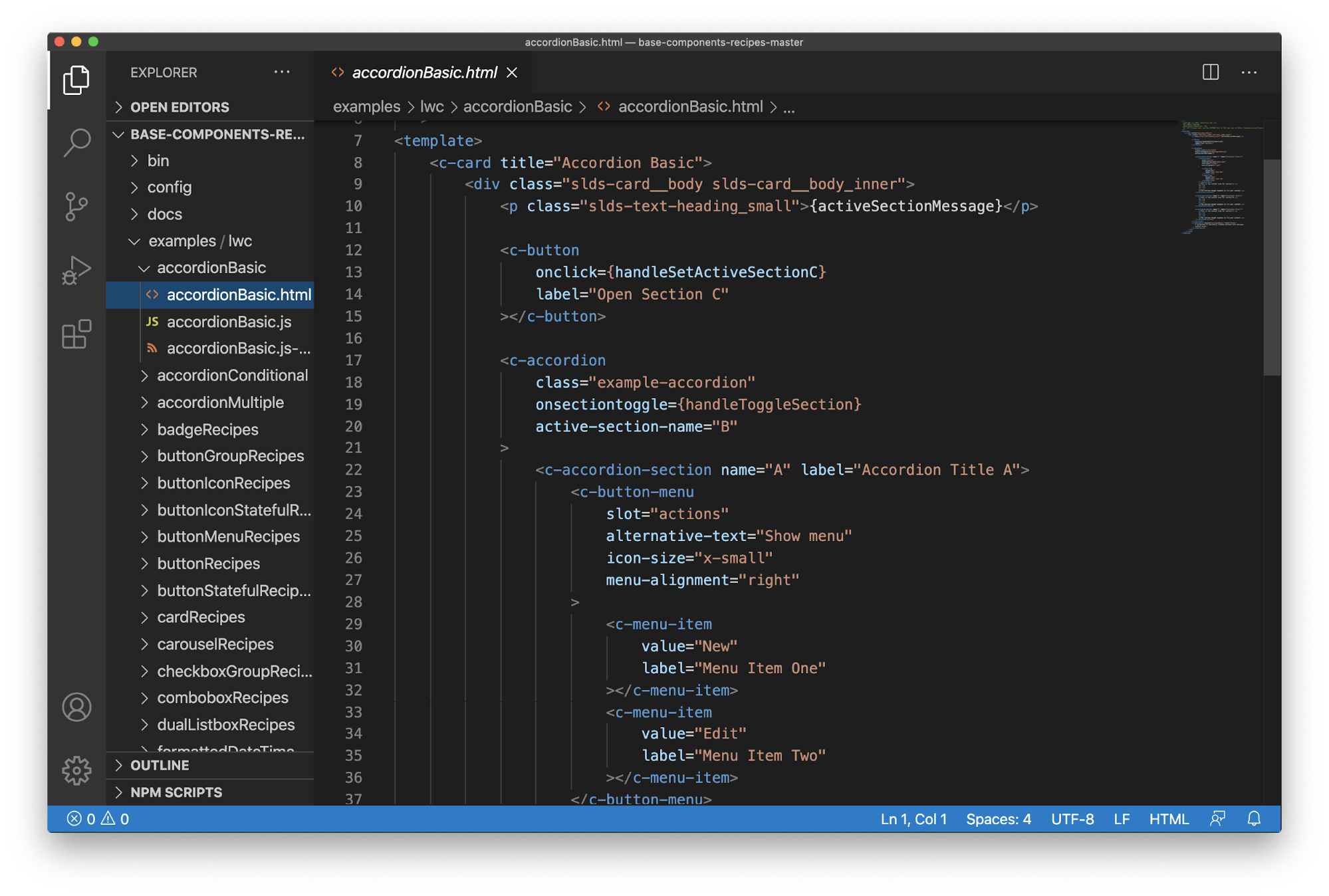 A screenshot of someone working on Salesforce content using a code editor.