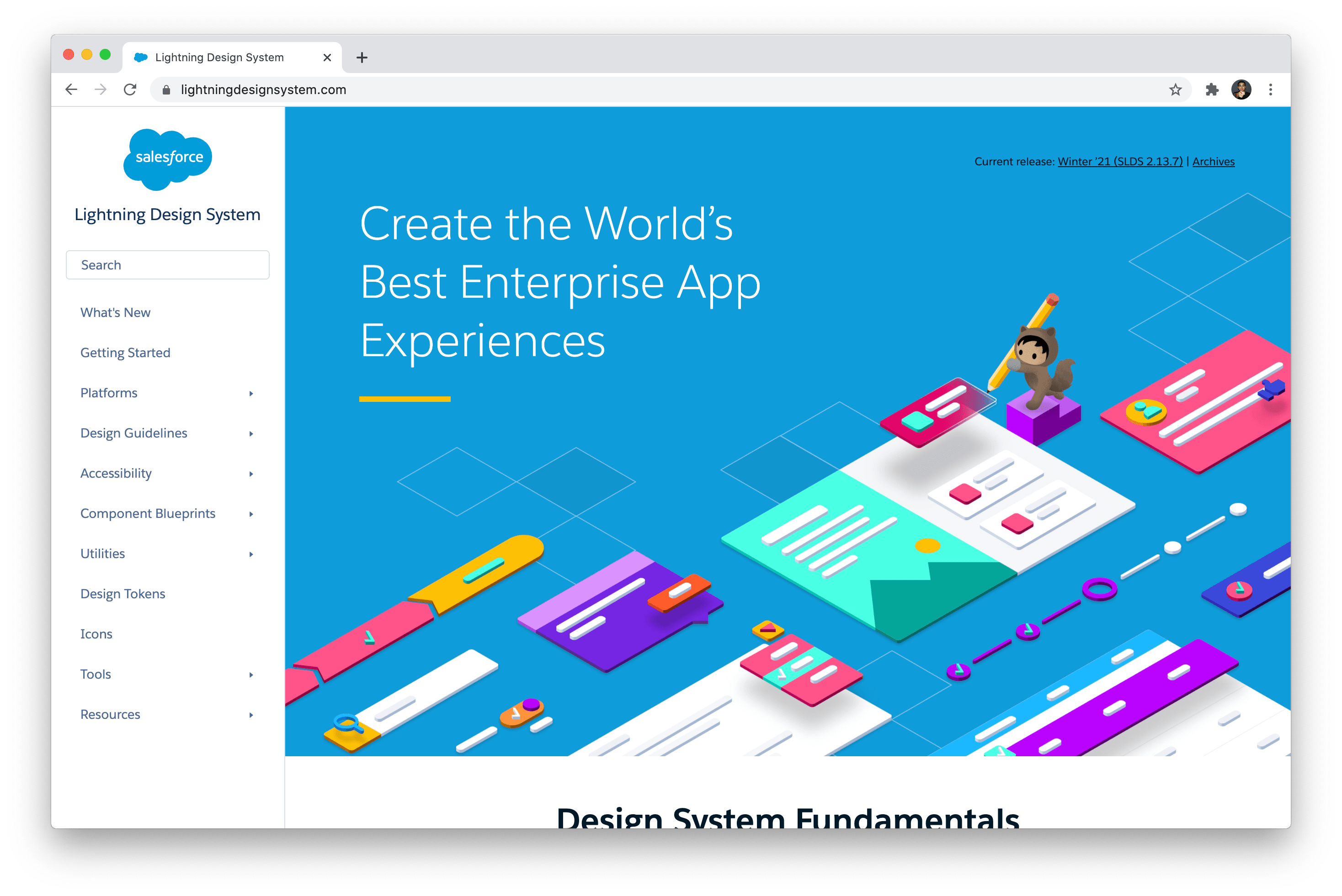 A screenshot of the Lightning Design System homepage.