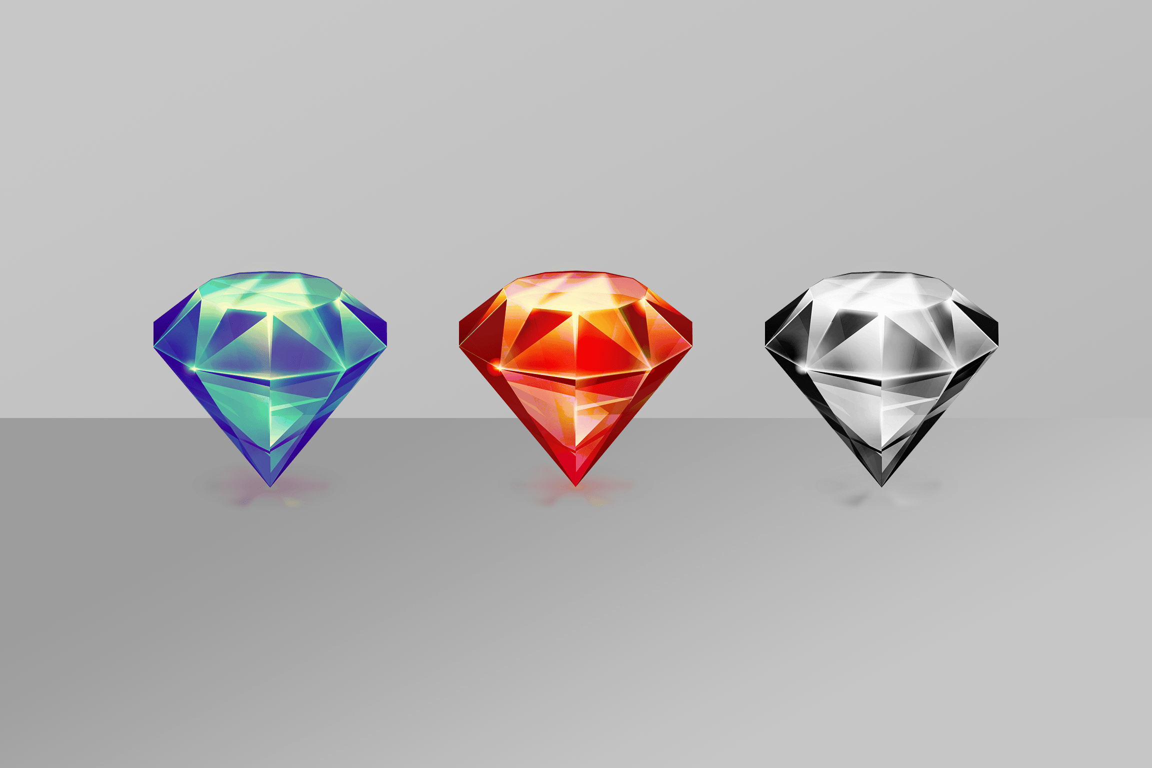 Three version of the original Sketch diamond, in different colors.