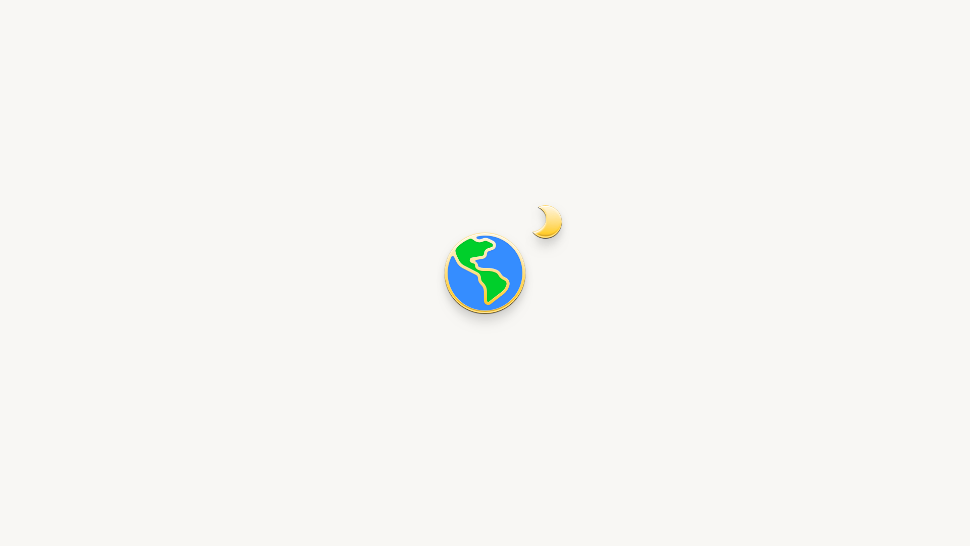 An illustration of the Earth in the style of an enamel pin, on a white background
