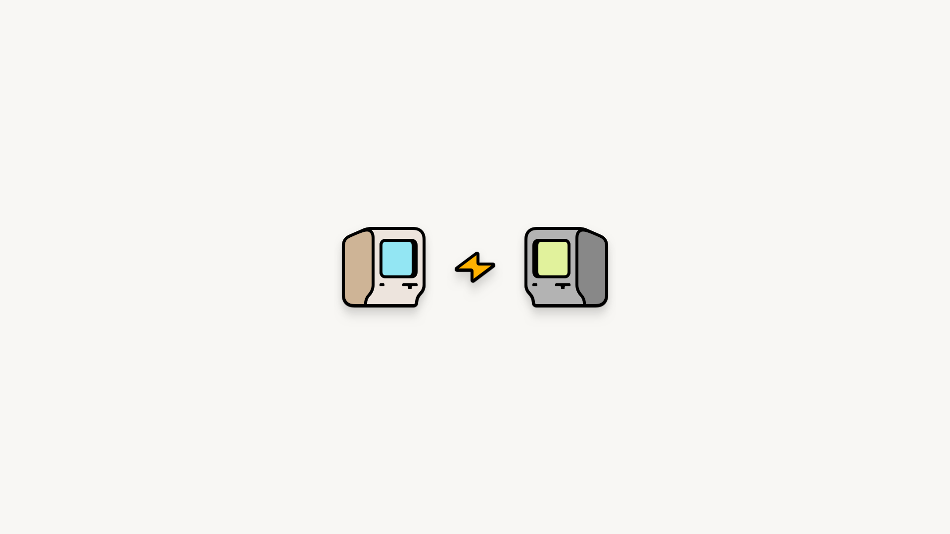An illustration of two old-school Macintosh computers facing each other with a lightning bold between them, all in the style of enamel pins on a white background