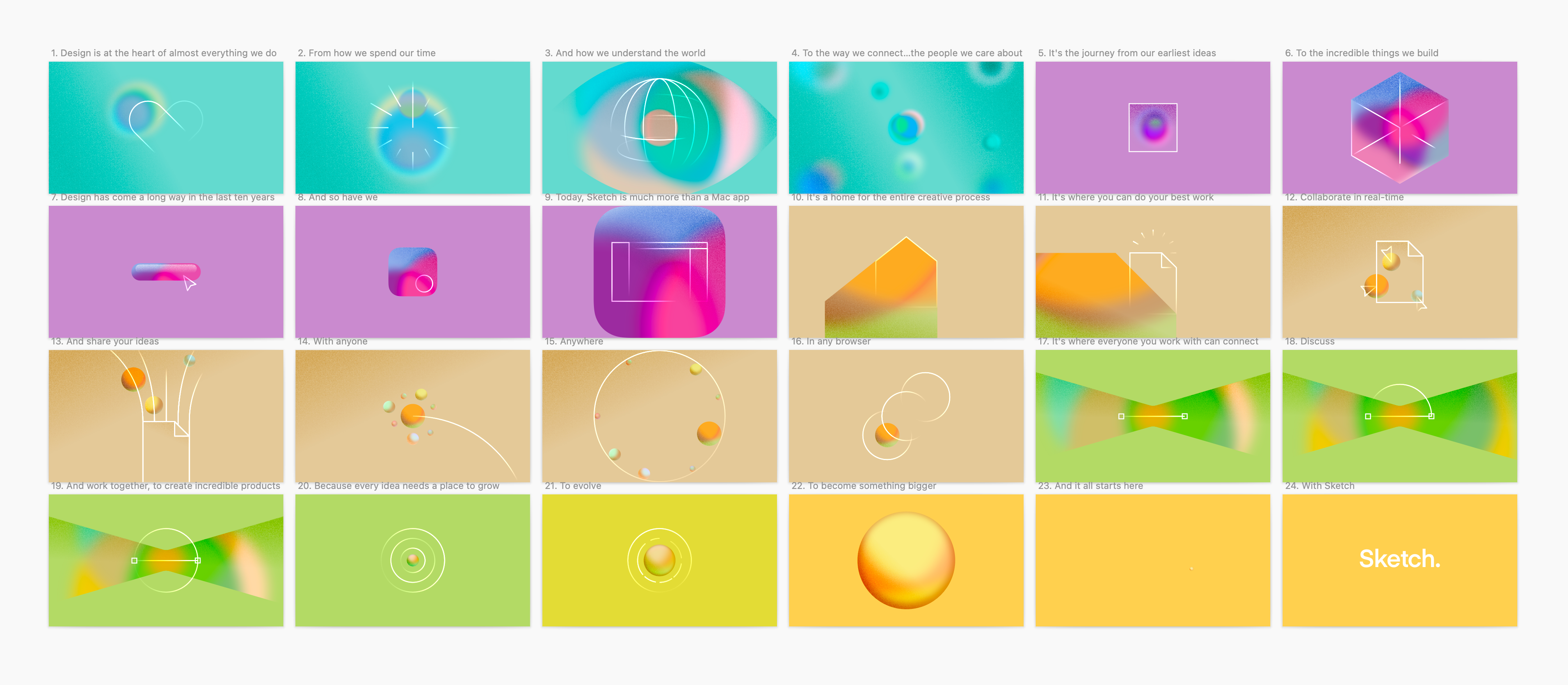 The final storyboard in made in Sketch. Each frame features a unique illustration, with the background colors changing every few frames.