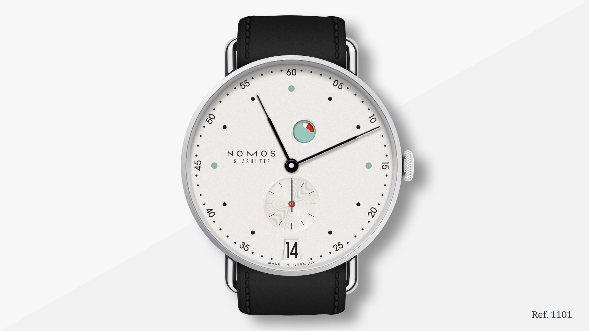An illustrated image showing a Nomos Metro Date Power Reserve watch that Nikola recreated in Sketch using Vector shapes.