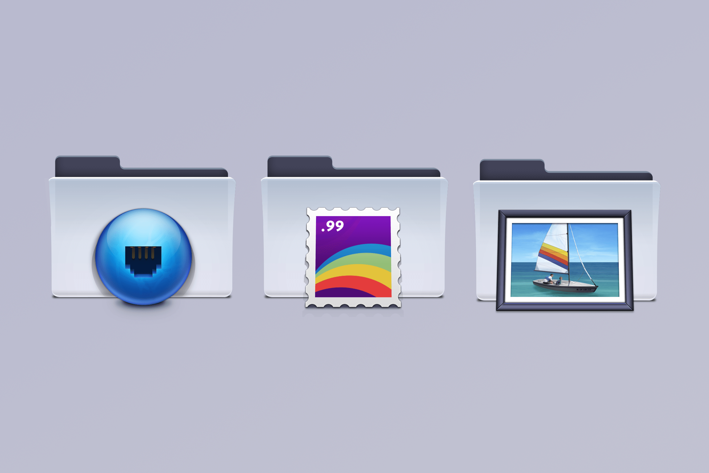 Three illustrated macOS folders designed by Emanuel