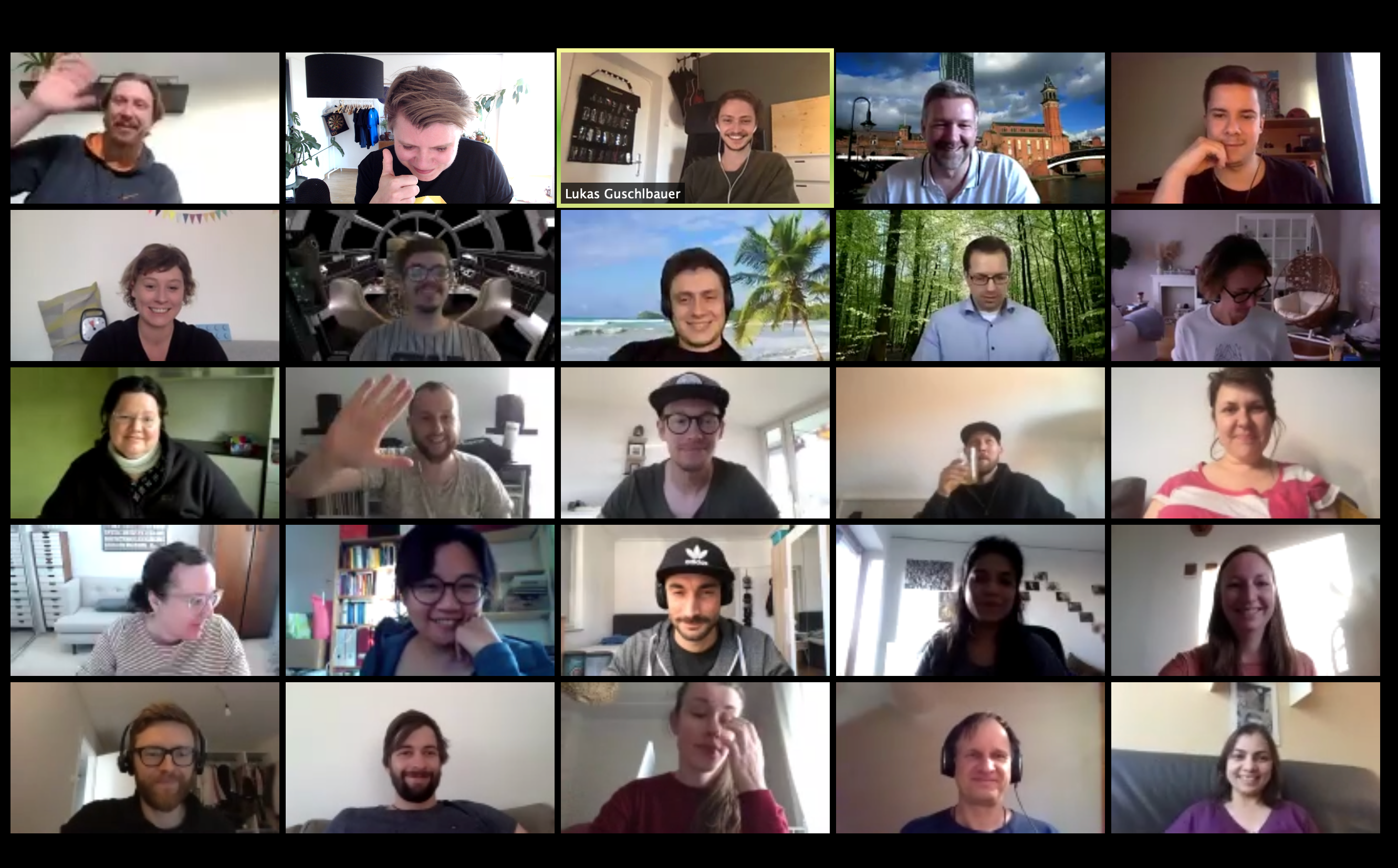 A screenshot taken from a Zoom call showing lots of users taking part in a meetup.