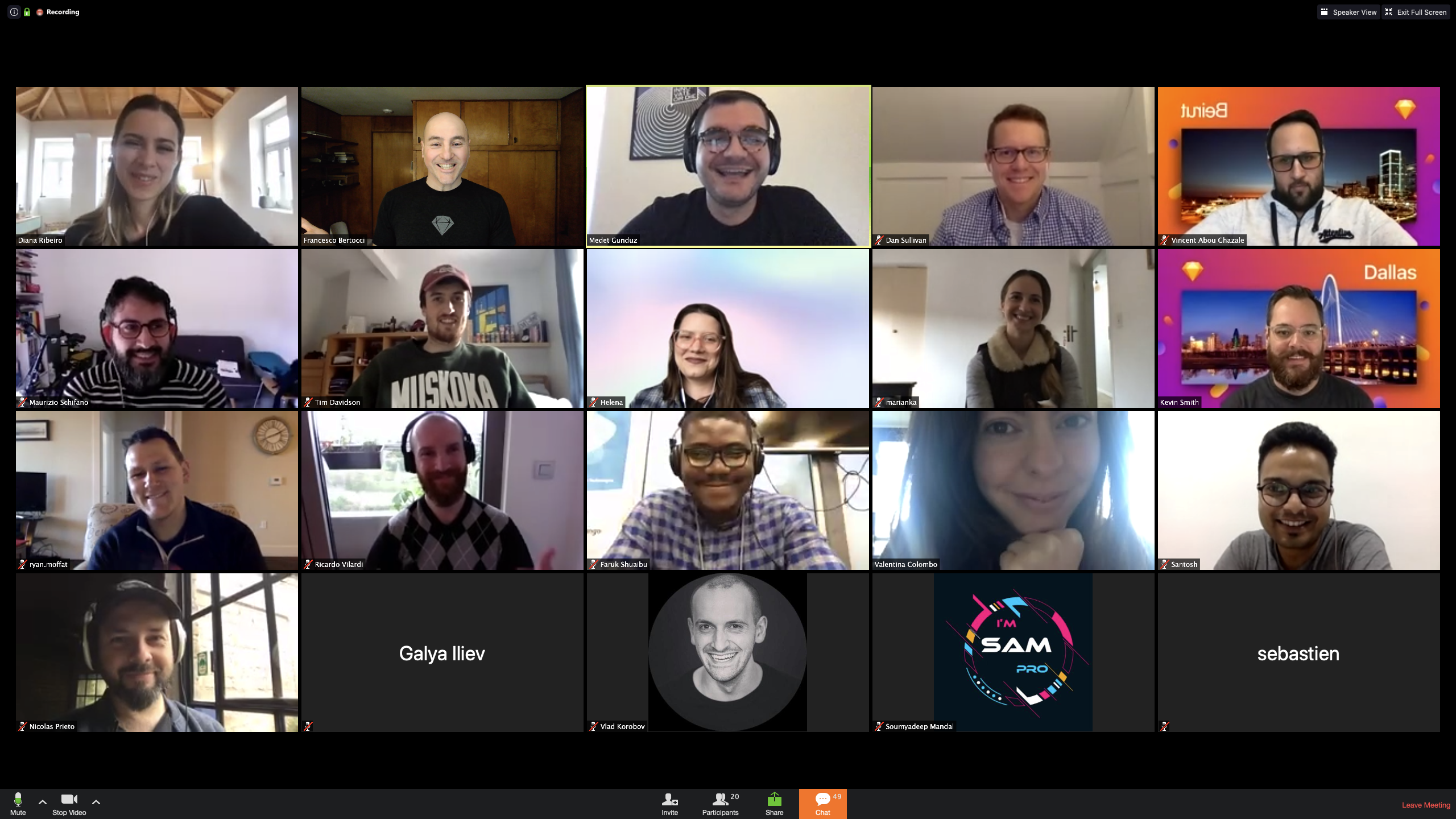 Another screenshot taken from a Zoom call showing lots of sers taking part in a digital meetup.
