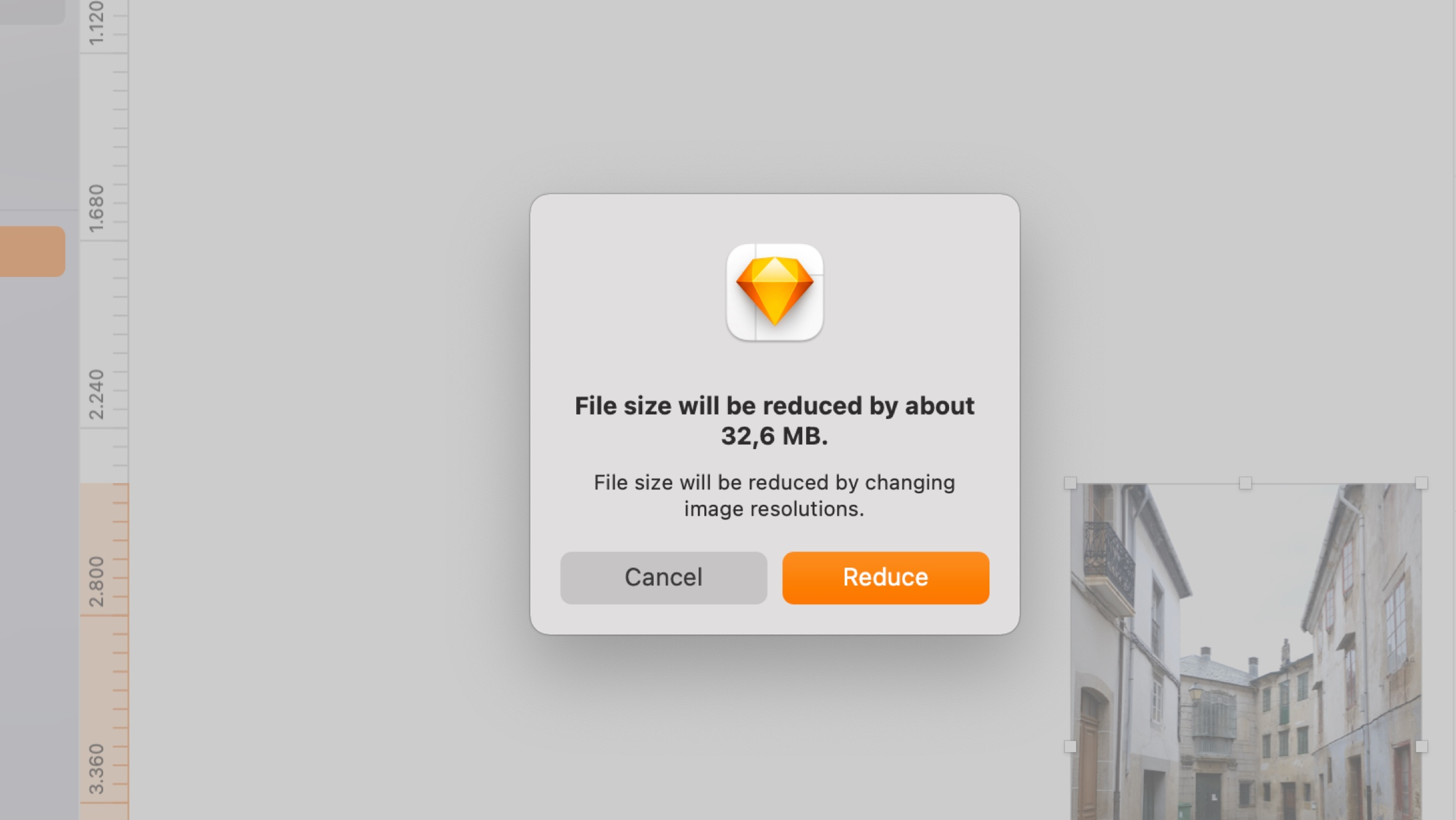 An image showing the file size reduction sheet in the Mac app