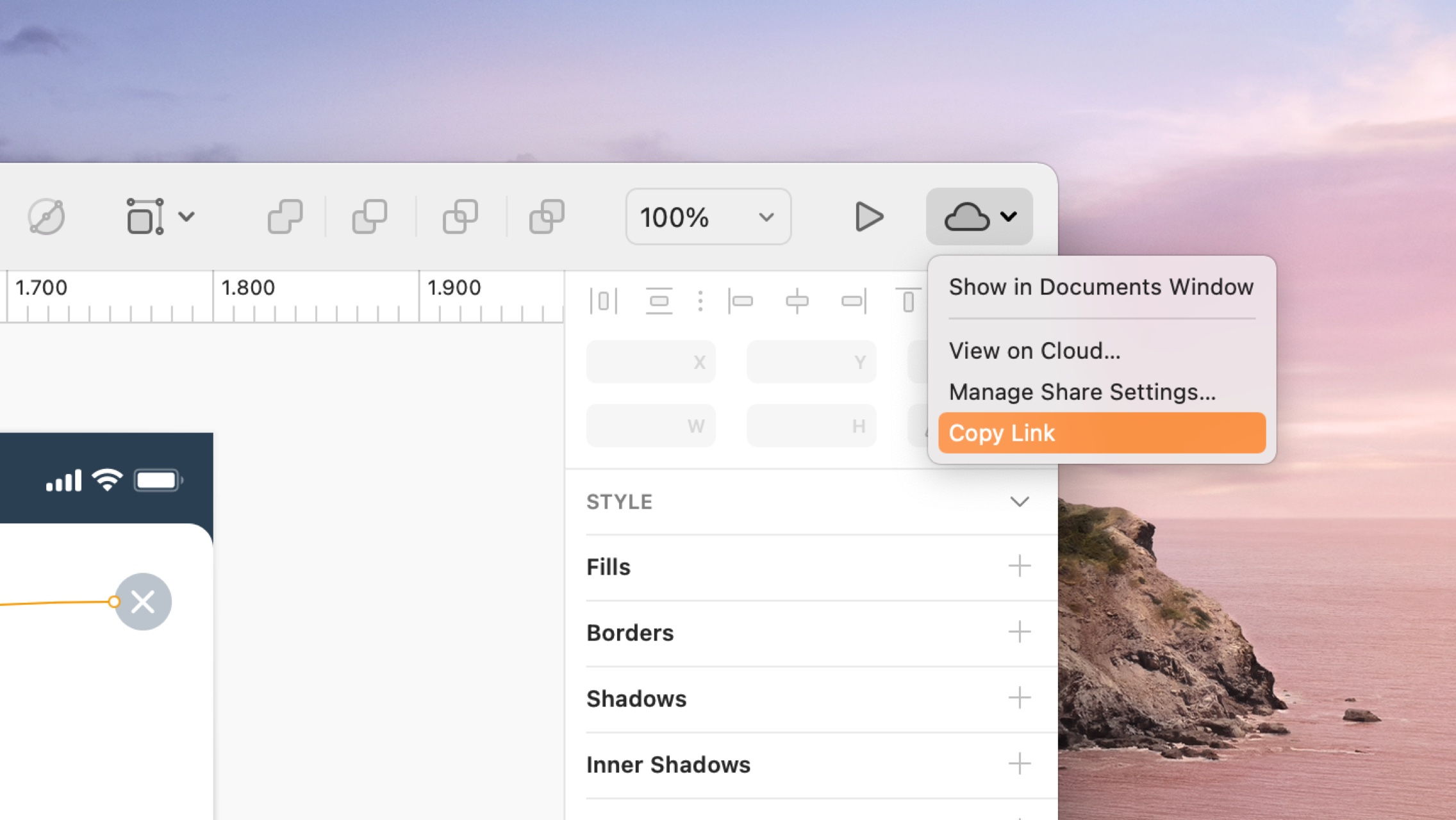 A picture showing the process of copying a Cloud Share link in Sketch.