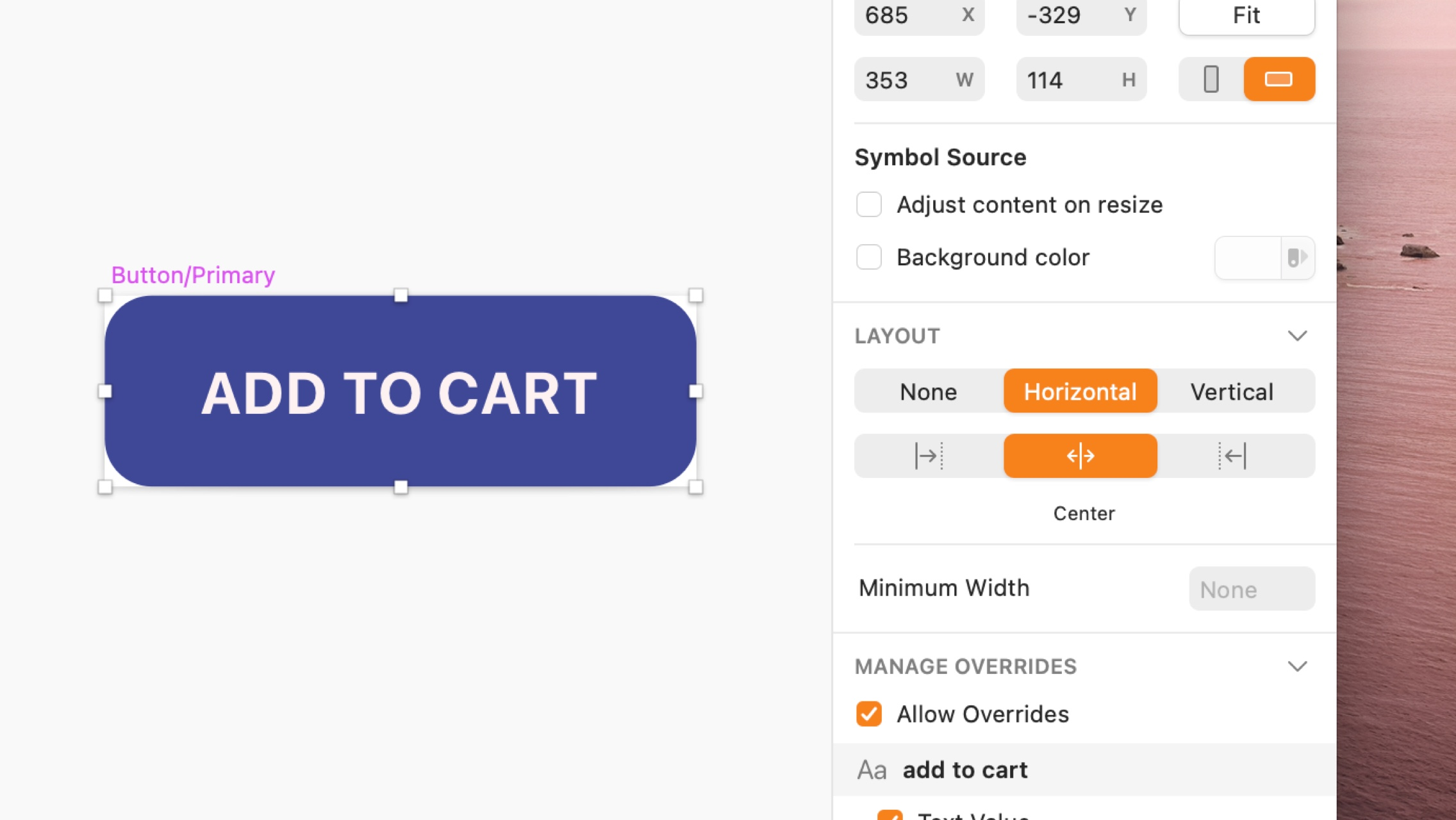 An image showing smart layout controls in the inspector in Sketch