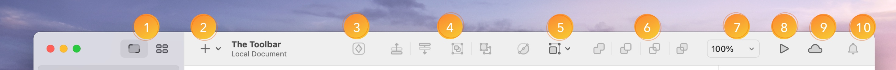 An annotated image showing the default toolbar options in Sketch.