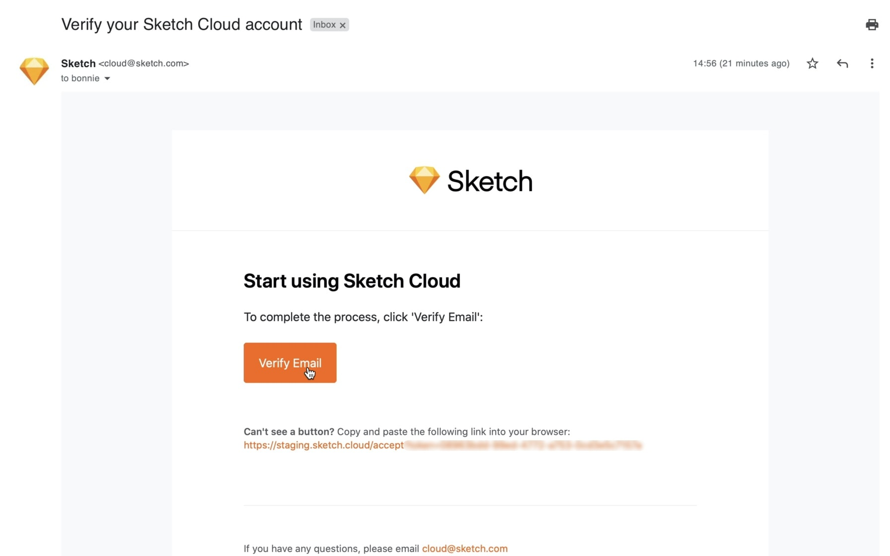 An image showing the verification step of signing up for a Sketch account.