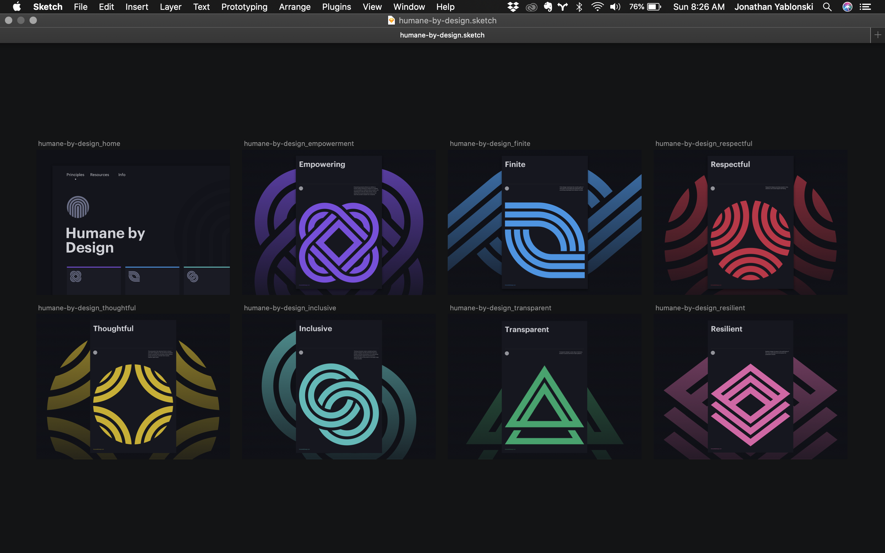 A screenshot showing different poster designs in the Sketch Mac App