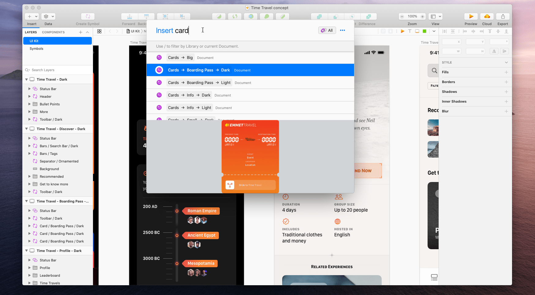 The Runner plugin inserting a Symbol into a Sketch Artboard