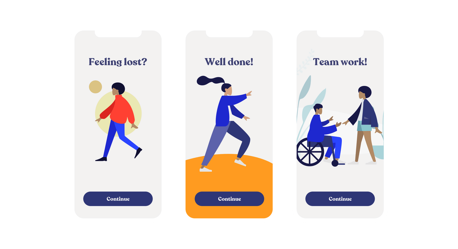 Three screenshots showing human avatars, including differently-abled people and people of color