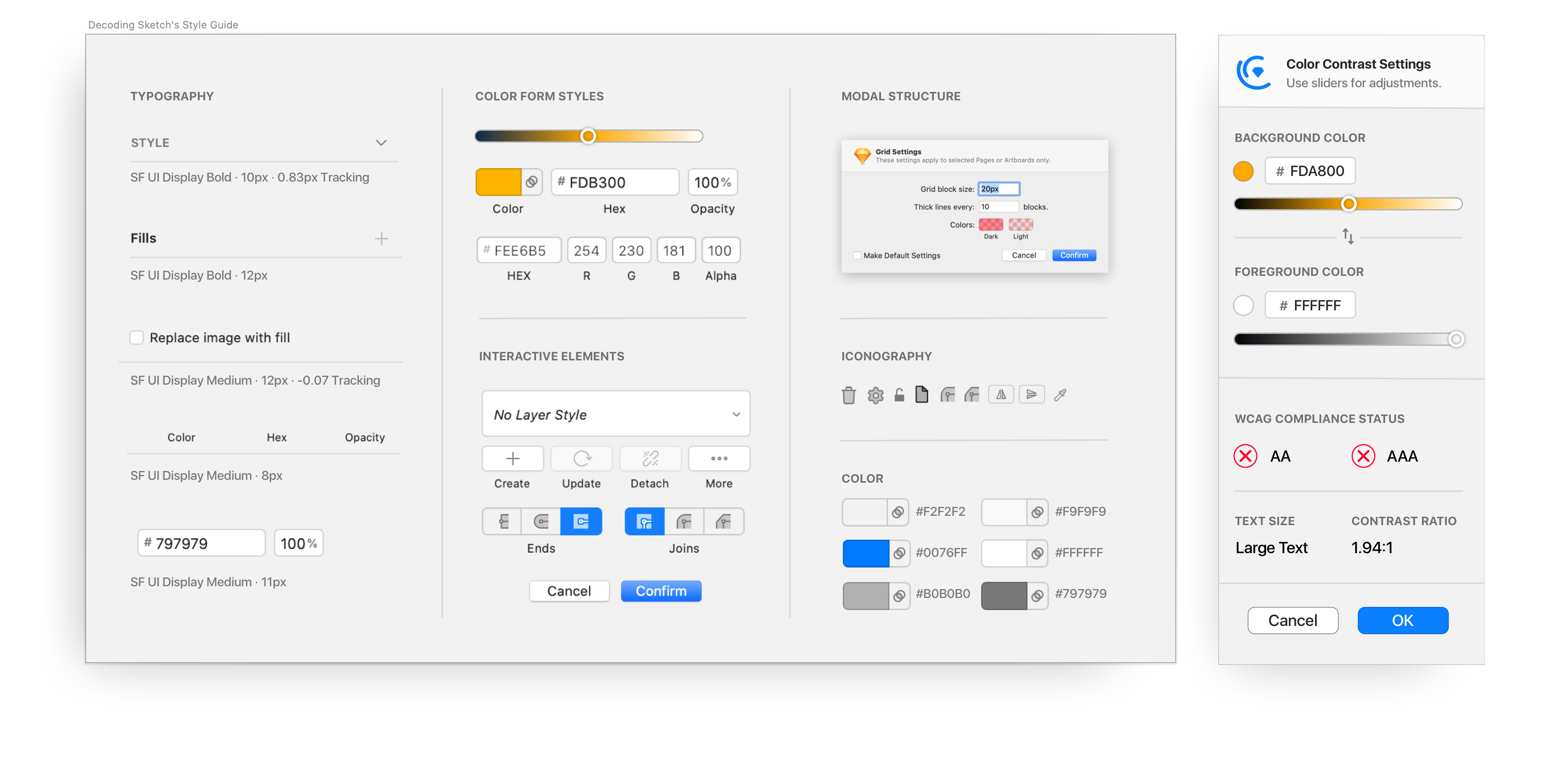 Yanas mock style guide for Sketch helped her create a plugin that felt like part of Sketch.