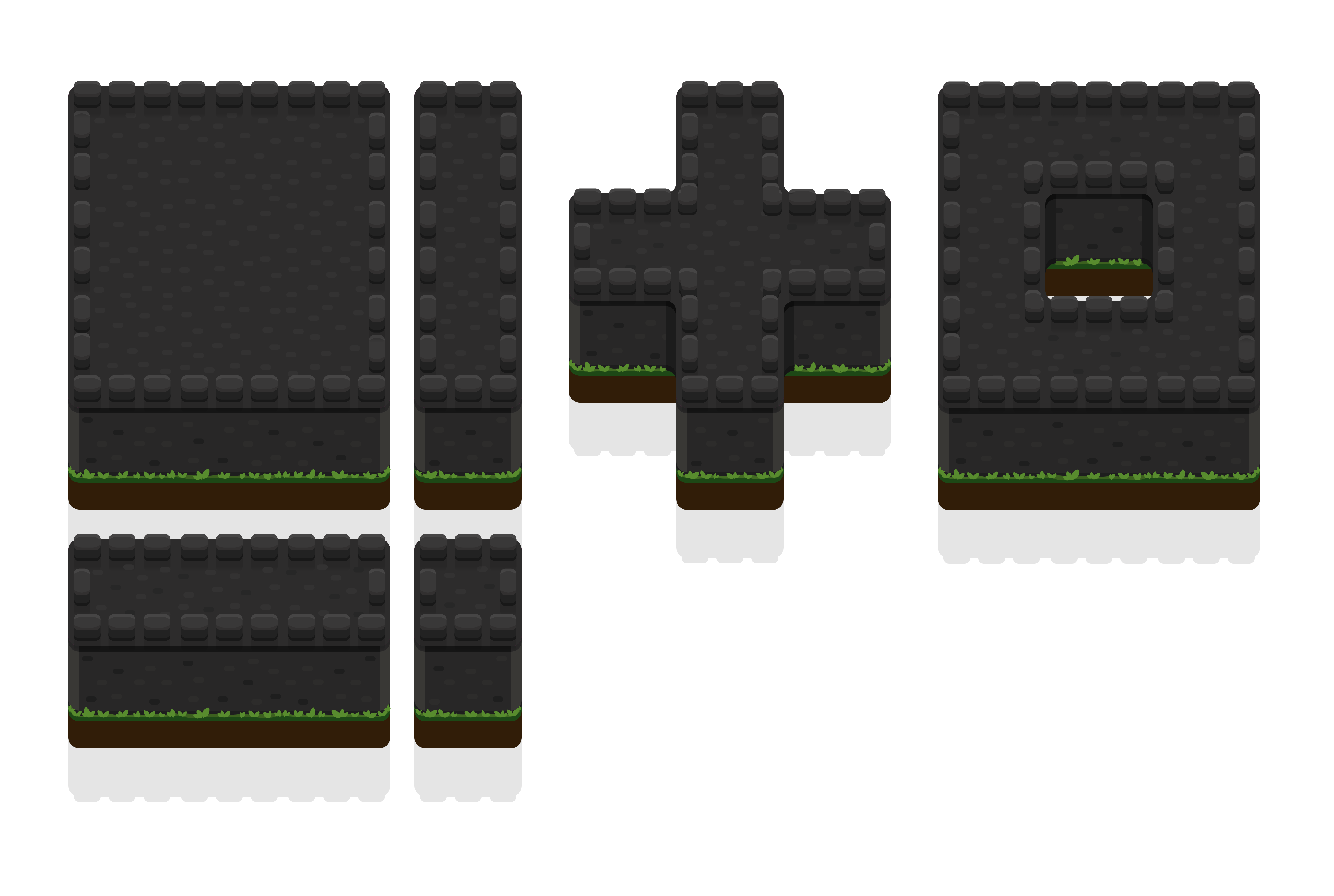 A screenshot showing how different wall blocks fit together to create patterns in the game